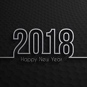 Happy new year 2018 - Dark hexagons background