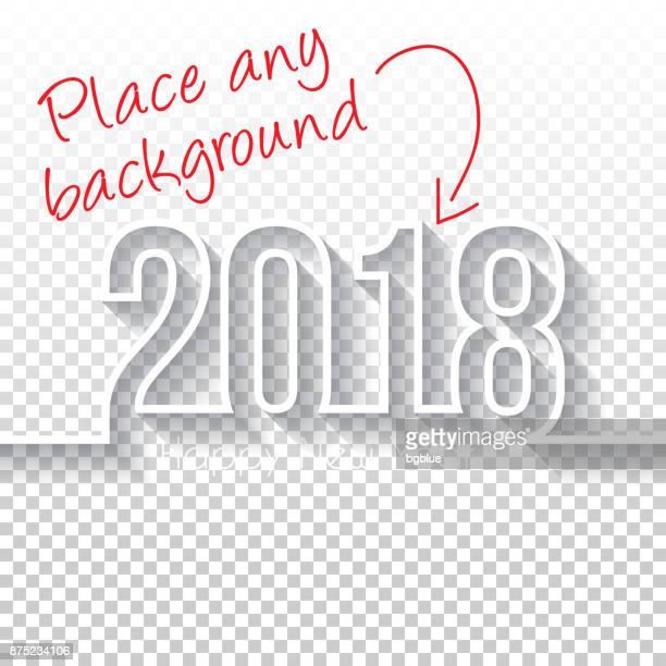 ilustraciones, imágenes clip art, dibujos animados e iconos de stock de feliz año nuevo 2018 diseño - backgroung en blanco - largo longitud