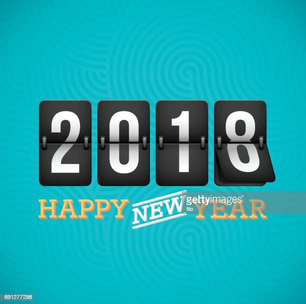 Happy New Year 2018 Flip klok