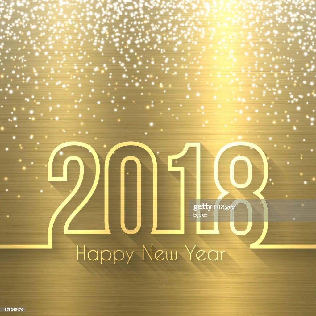 happy new year 2018 gold background brushed metal texture vector art