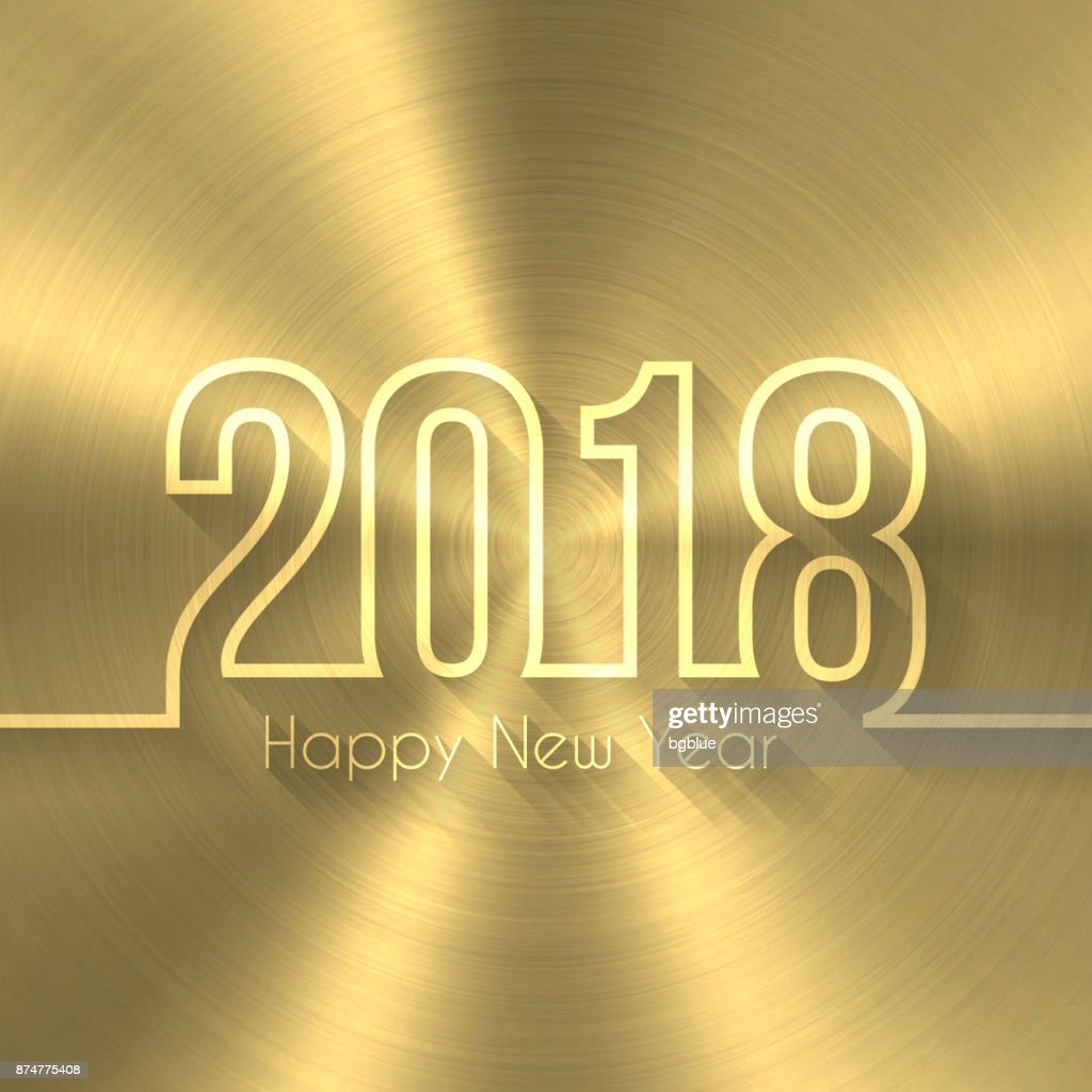 happy new year 2018 gold background circular brushed metal texture vector art