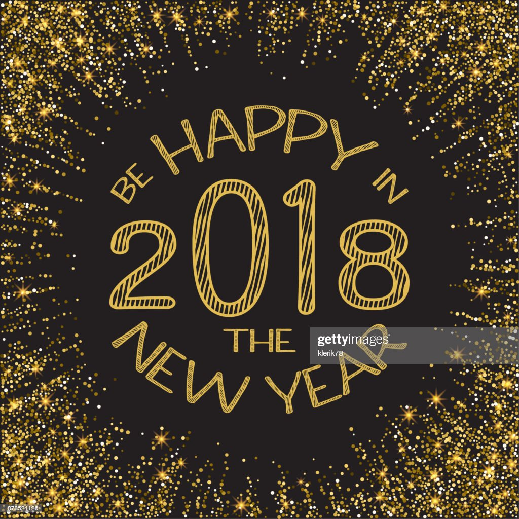 happy new year 2018 gold glitter new year gold background for flyer poster