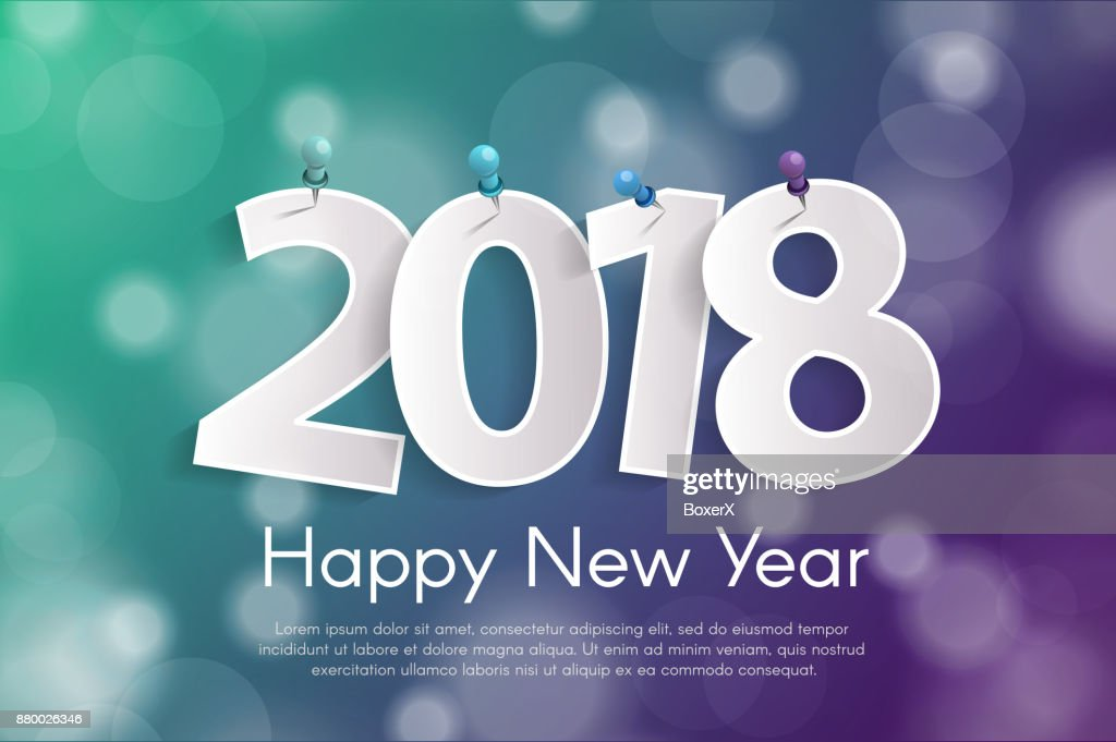 happy new year 2018 greeting card concept with paper cuted white numbers on pins vector