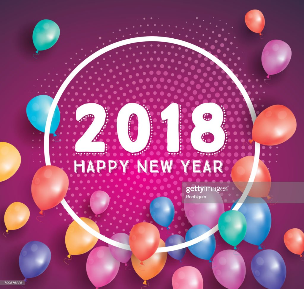 happy new year 2018 greeting card with flying balloons and white frame vector art