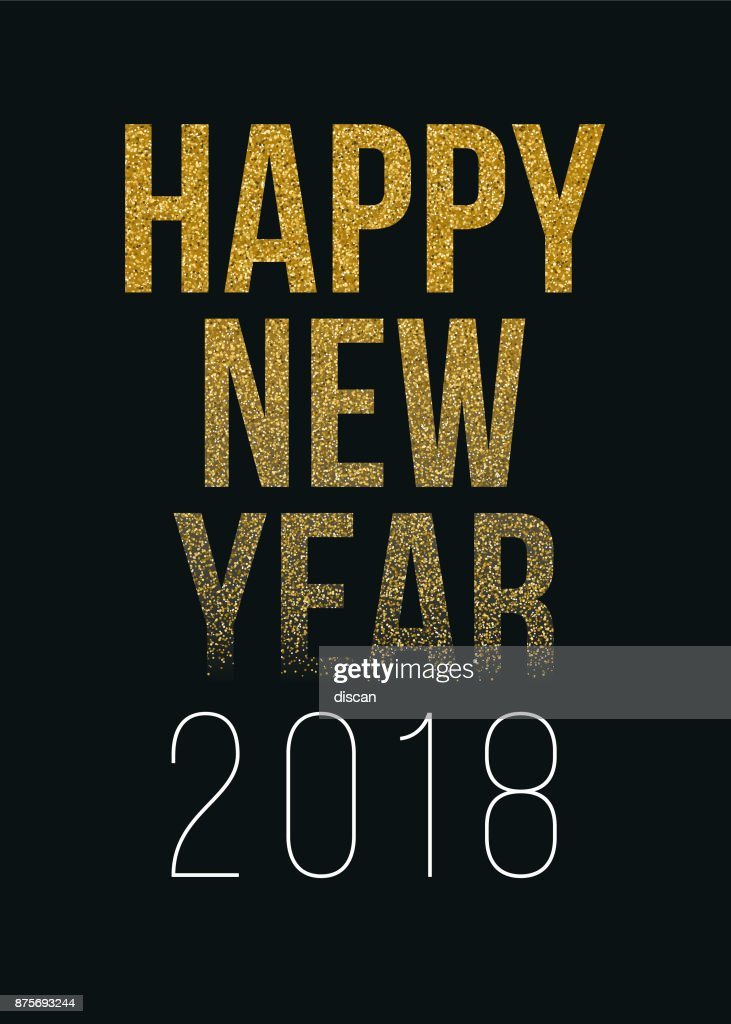 happy new year 2018 greeting card with golden text vector art