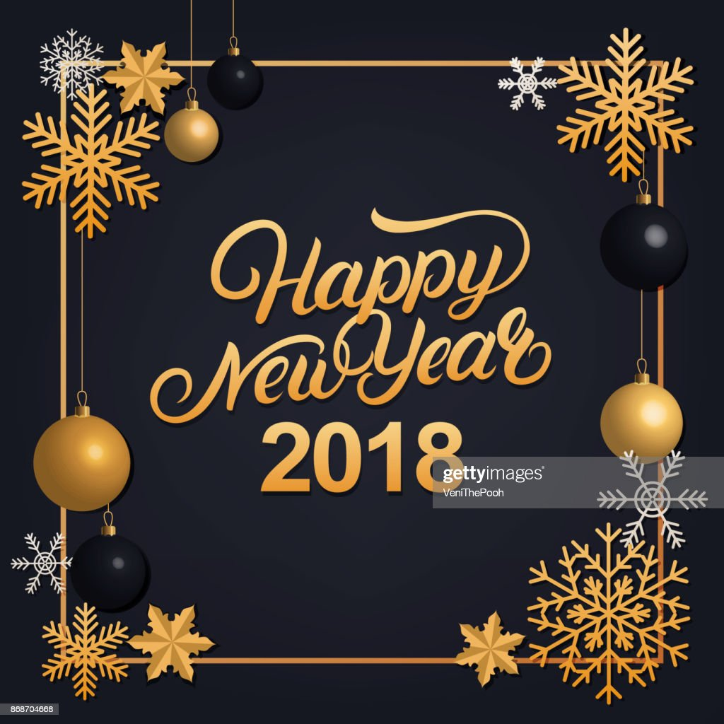 Happy New Year 2018 hand written lettering with golden decoration ornament.
