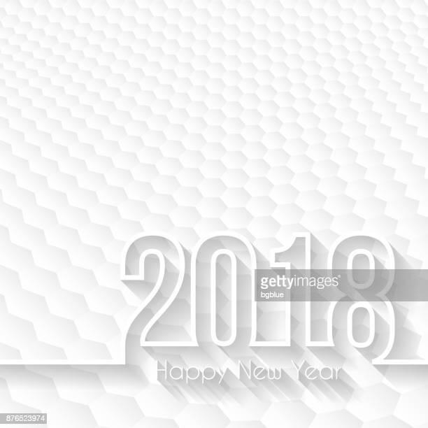 happy new year 2018 - hexagons background, design illutration - cardiopulmonary system stock illustrations, clip art, cartoons, & icons