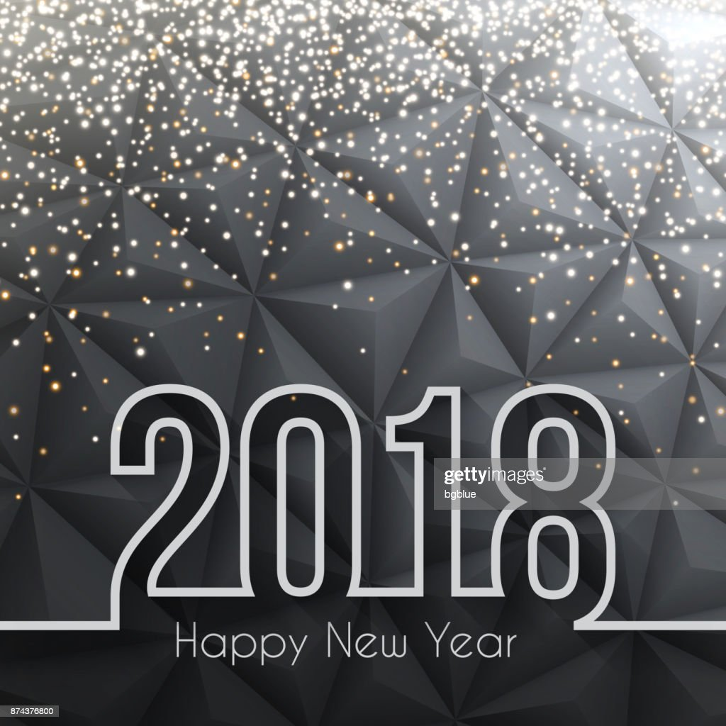 happy new year 2018 low poly with gold glitter abstract background vector art