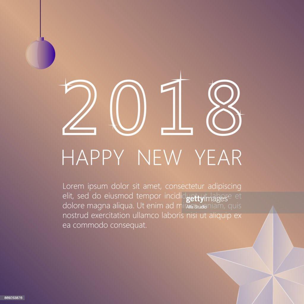 Happy New Year 2018 Auf Einem Beigen Hintergrund Gestaltung Von ...
