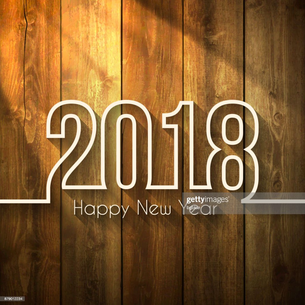 Happy new year 2018 - on Wooden Background
