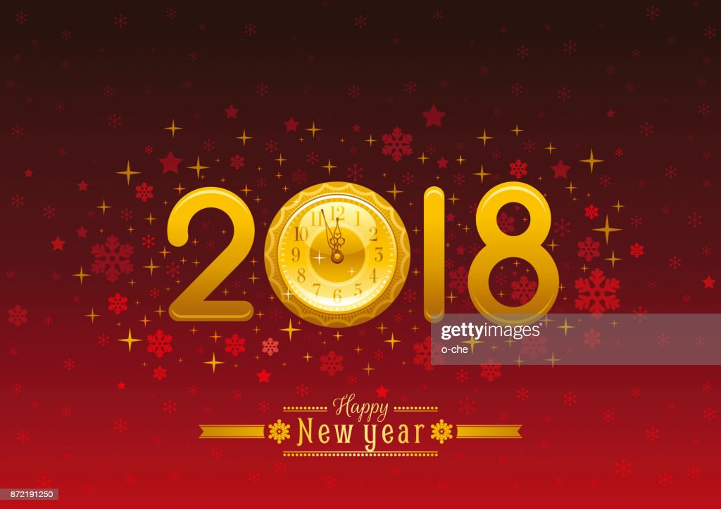 happy new year 2018 placard banner template design vector illustration golden number clock