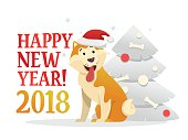Happy New Year 2018 postcard template with the cute yellow dog sitting near the Christmas tree on white background. The dog cartoon character vector illustration.