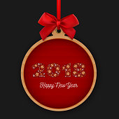 Happy New Year 2018 round banner with red ribbon and bow. Number 2018 made of snowflakes on a red background. Vector Christmas Holidays Card