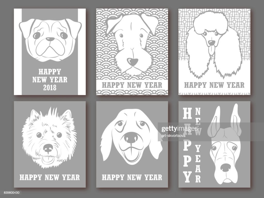 happy new year 2018 set of greeting card invitation poster design templates with dogs winter design chinese background with cute dogs holiday backdrop