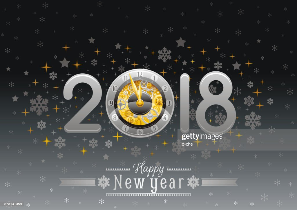 Happy New Year 2018 Silver Golden Icon Icon Vector Poster With Clock