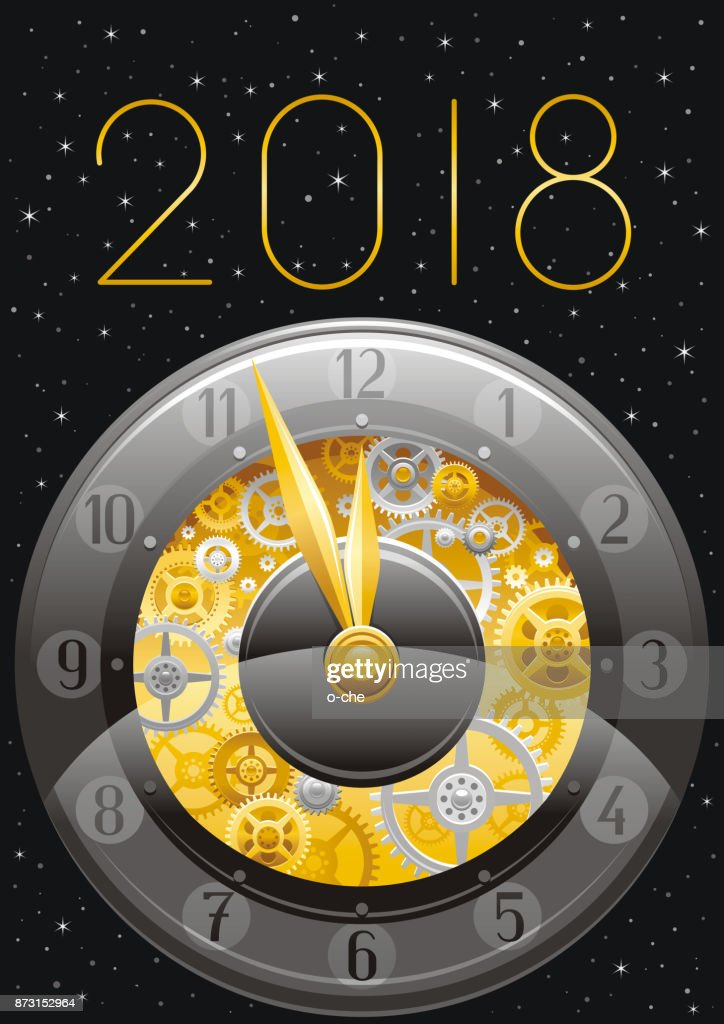 happy new year 2018 silver golden icon icon vector poster with clock gears abstract holiday design template vintage symbols swirls pattern