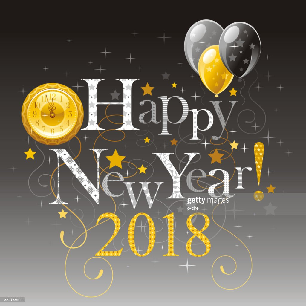 happy new year 2018 silver golden symbol icon vector poster with clock balloons