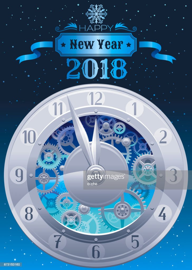 Happy New Year 2018 Silver Icon Icon Vector Poster With Clock Gears
