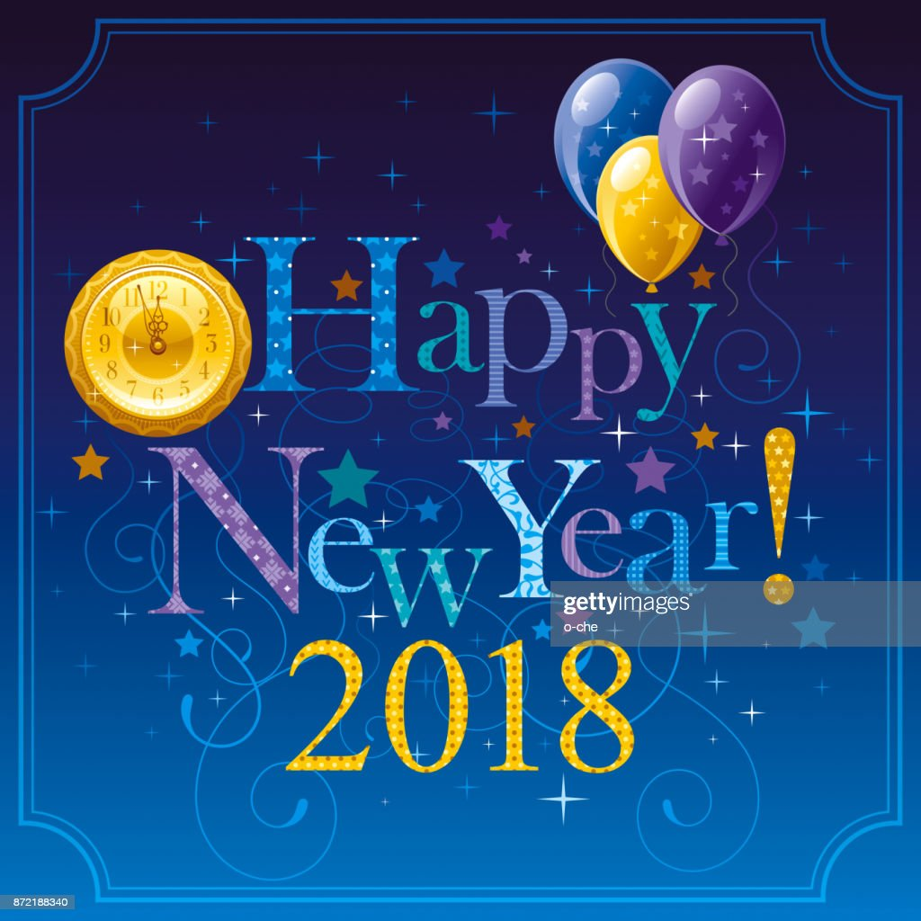 Happy New Year 2018 Symbol Icon Vector Poster With Golden Clock Dial
