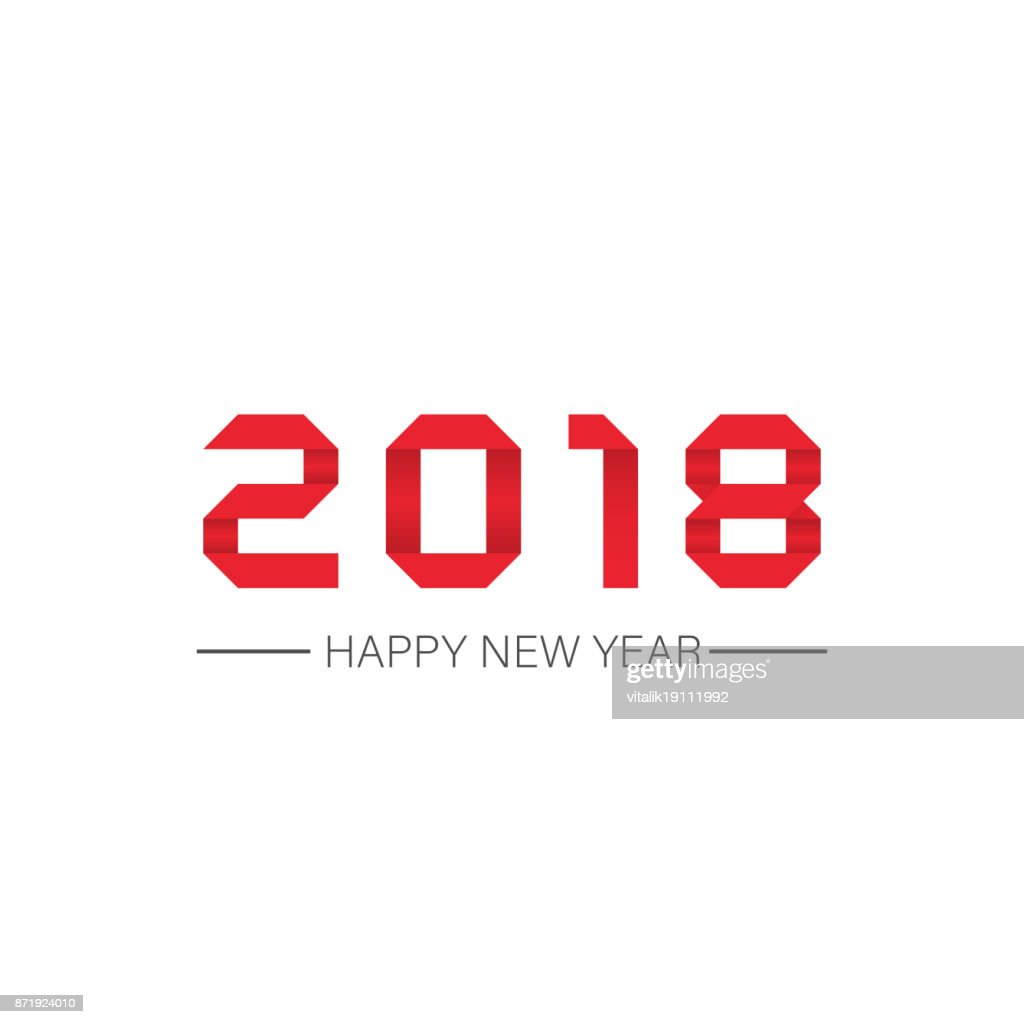 Happy new year 2018 Text in style origami Design