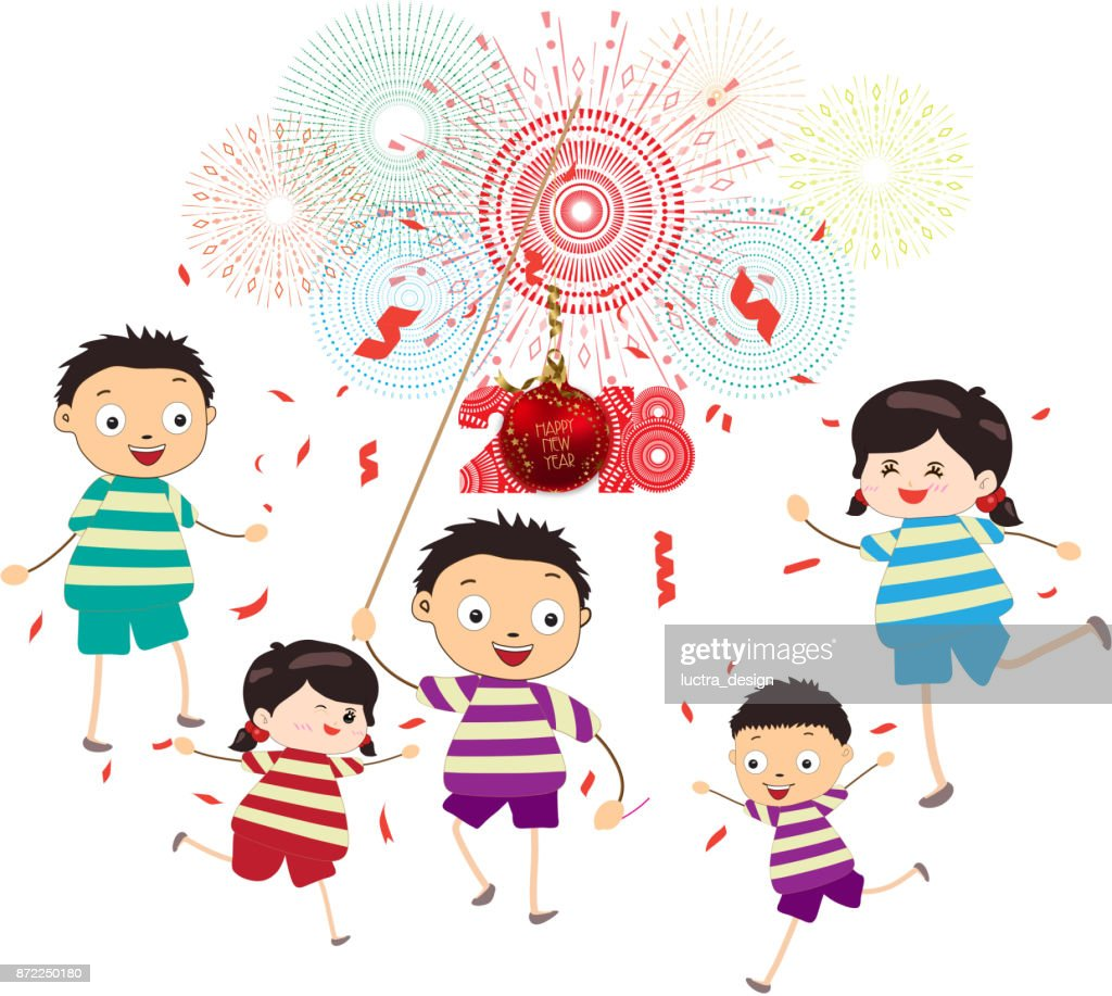 happy new year 2018 theme funny kids with ball and confetti vector art