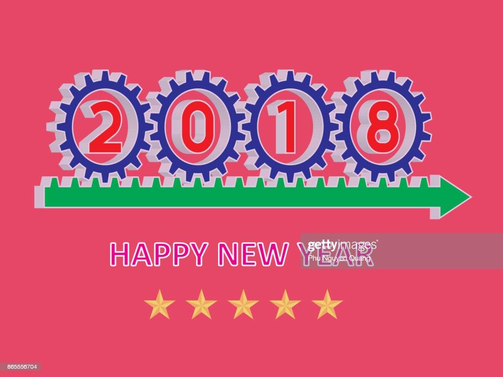Happy New Year 2018. Vector illustration