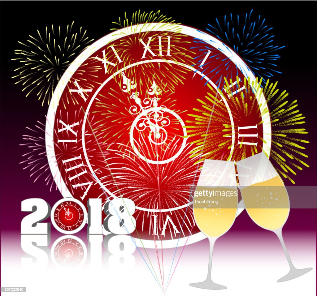happy new year 2018 with champagne glasses and firework bacground vector art