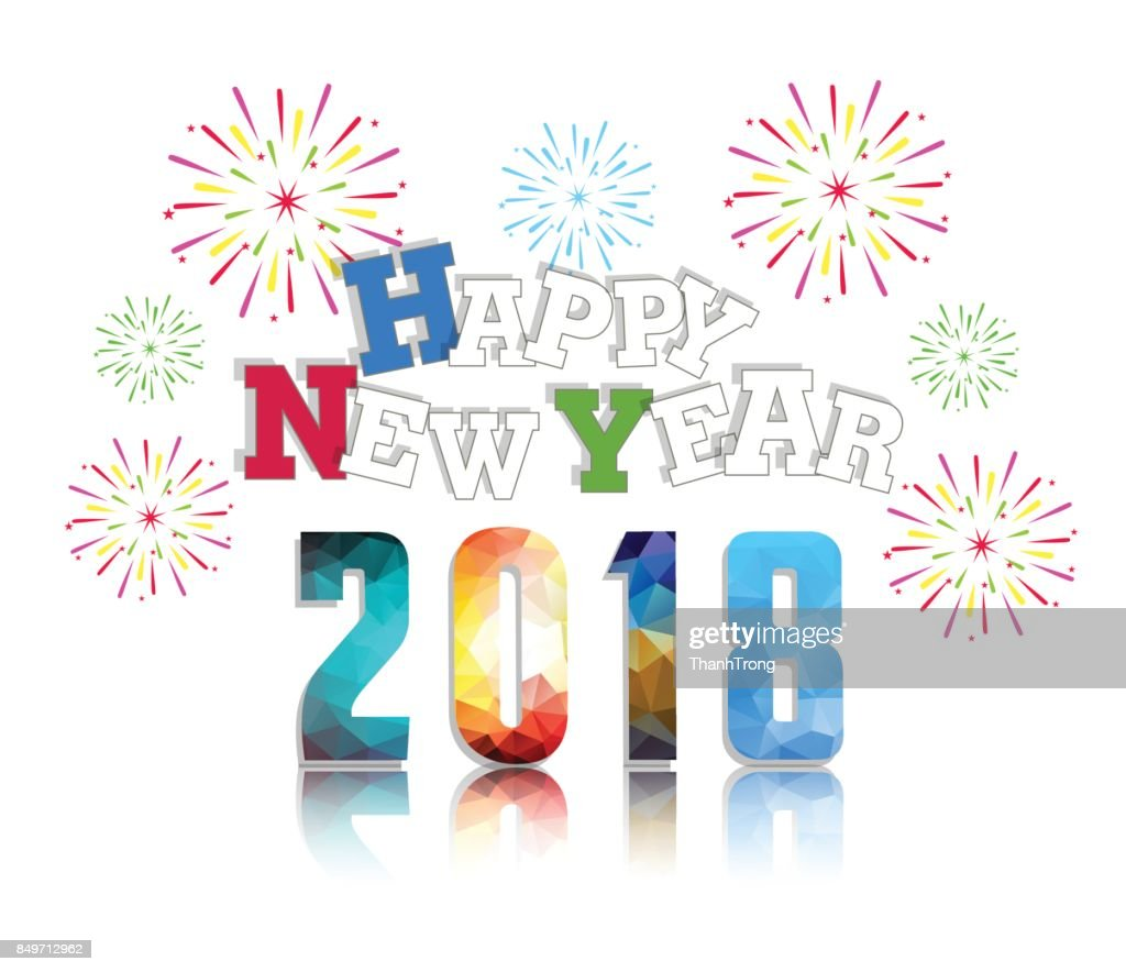 happy new year 2018 with firework background vector art