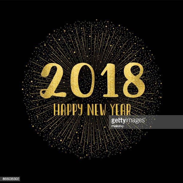 Happy new year 2018 with fireworks
