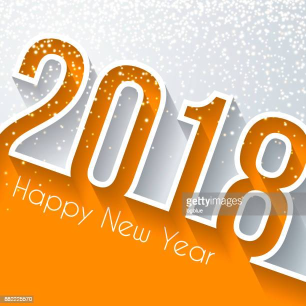Happy new year 2018 with gold glitter - Flat Design, long shadow