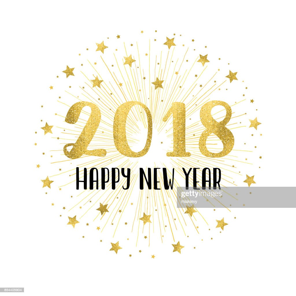Happy new year 2018 with golden fireworks