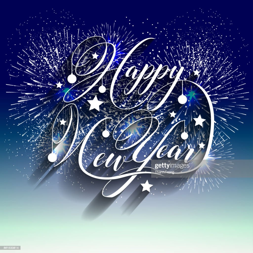 happy new year 2018 with typography text on firework background vector art