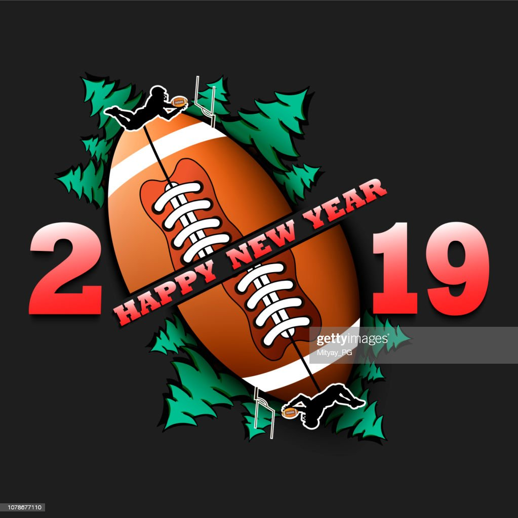 Happy new year 2019 and football ball