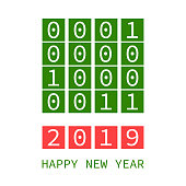 happy new year 2019, binary code style vector greeting card