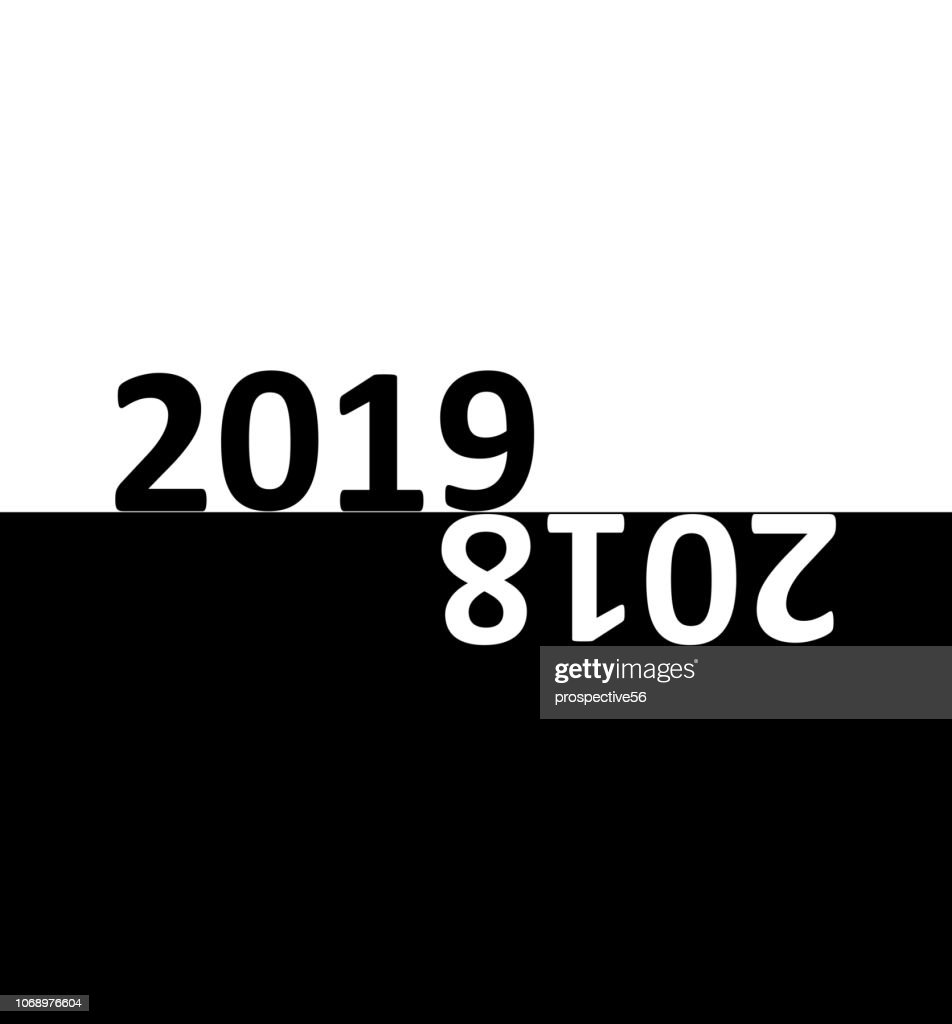 Happy New Year 2019 card abstract vector background. 2018 ends by night got black color around while 2019 starts in the morning got white color around. A pretty simple but very meaningful and conceptual design