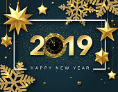 Happy New Year 2019 card with golden clock, stars and shiny snowflakes.