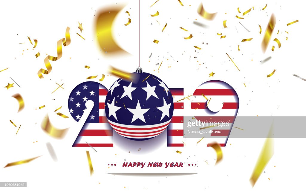 Happy New Year 2019, Christmas greeting card with USA flag and defocused golden confetti