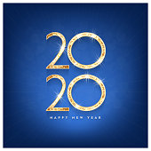 Happy New Year 2019 gold text design. Vector greeting illustration with golden numbers