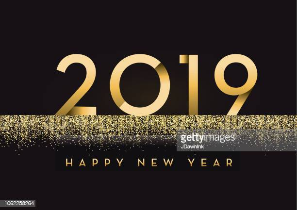 happy new year 2019 greeting card banner design in gold and glitter with text - 2019 stock illustrations