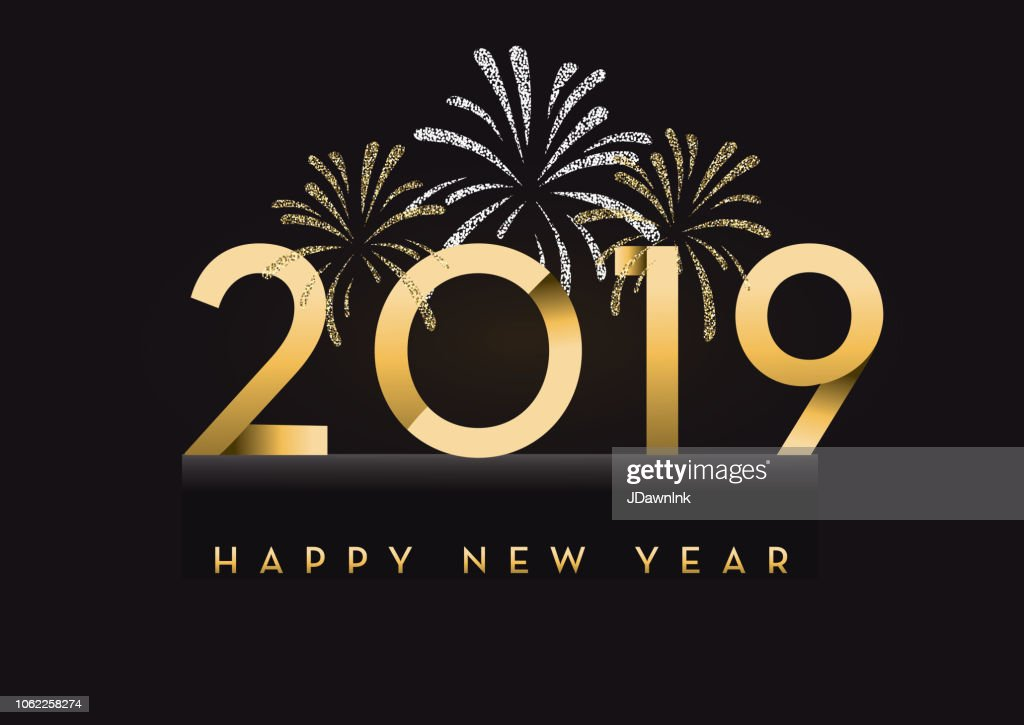 happy new year 2019 greeting card banner design in gold and glitter with text vector