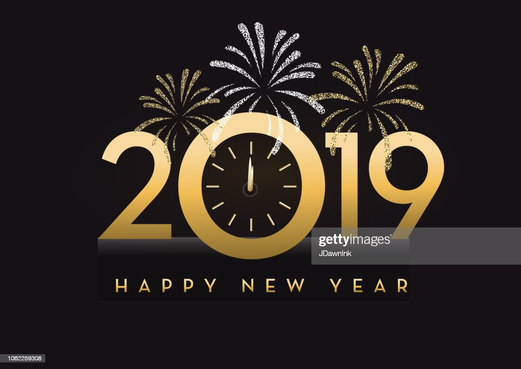 Happy New Year 2019 Greeting Card Banner Design In Gold ...