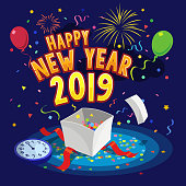 Happy new year 2019 greeting card with balloons, fireworks, gift box and confetti