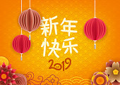 Happy new year 2019 in chinese. Vector greeting card template