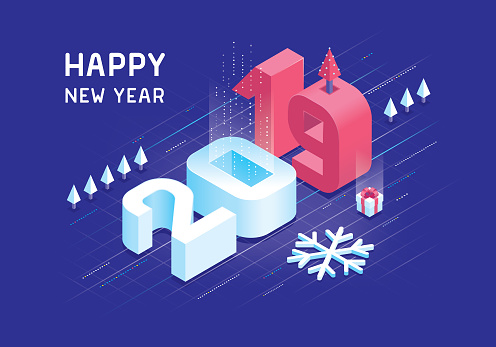 Happy new year 2019 isometric concept - gettyimageskorea