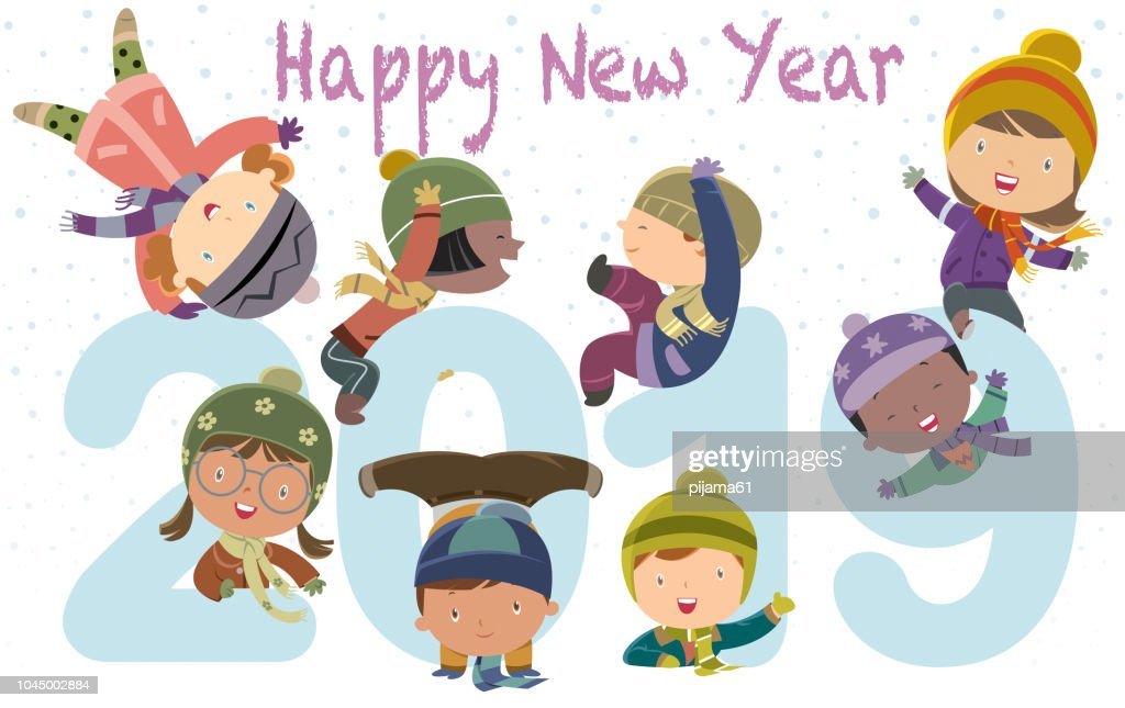 happy new year 2019 kids funny vector art