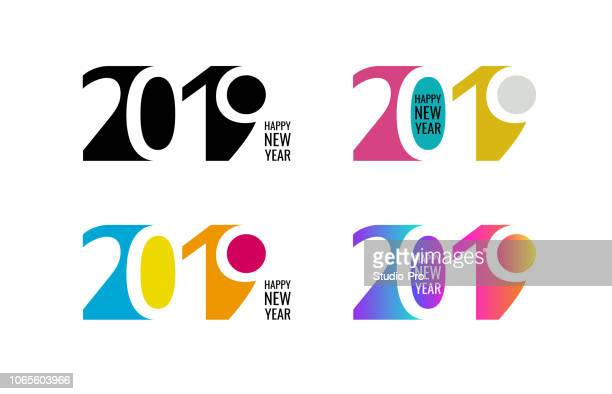 happy new year 2019 lettering background for your christmas - 2019 stock illustrations
