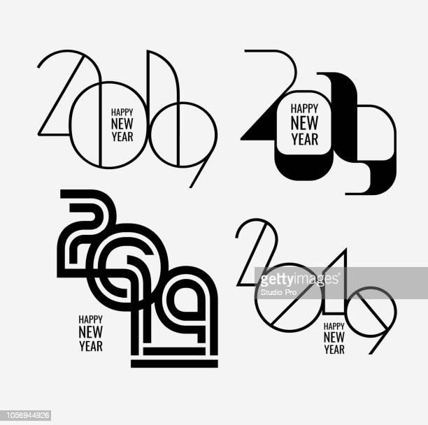 ilustrações, clipart, desenhos animados e ícones de feliz ano novo 2019 letras para seus projetos de natal - 2019