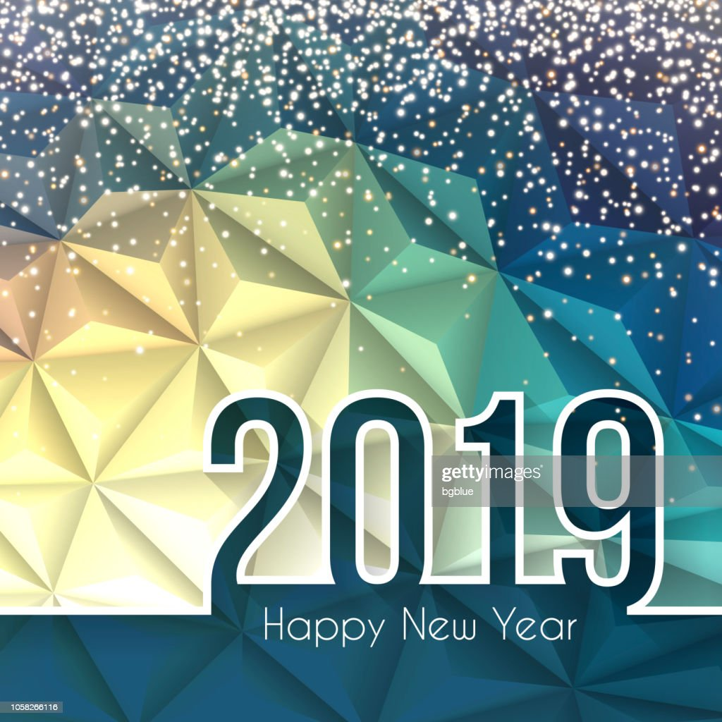 happy new year 2019 low poly with gold glitter abstract background vector art