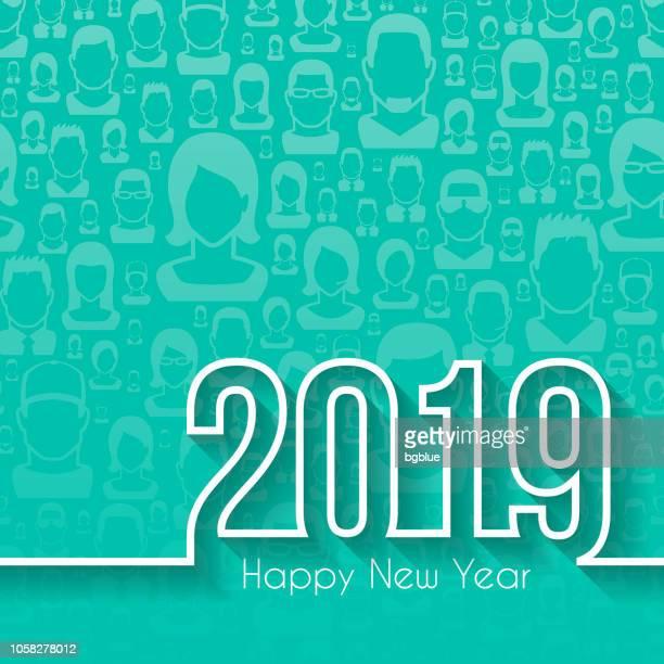 ilustraciones, imágenes clip art, dibujos animados e iconos de stock de feliz año 2019 - patrones sin fisuras con la gente - largo longitud