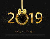 Happy New Year 2019 shiny poster with golden clock and satin bow.
